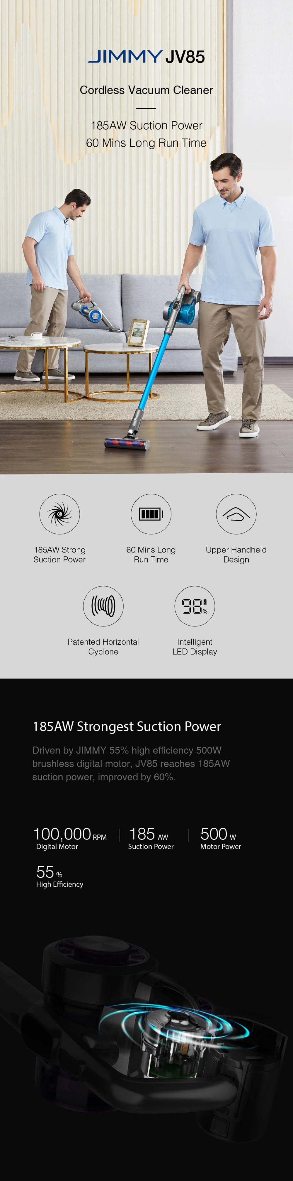 Pokončni brezžični sesalnik Xiaomi Jimmy JV85