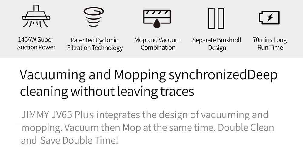 Pokončni brezžični sesalnik Xiaomi jimmy JV65 Mop Plus